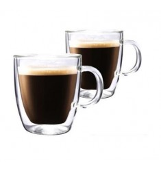 Bodum Bistro Double Wall Tall Mug 15oz, Set of 2