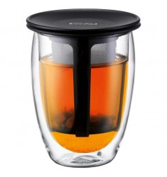 Bodum Tea for One - Glass & Tea Strainer 12oz Black Lid