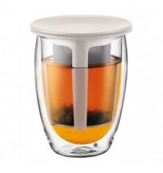 Bodum Tea for One - Glass & Tea Strainer 12oz White Lid