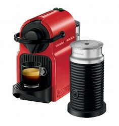 Nespresso Inissia with Aerocinno 3 Milk Frother (Red)